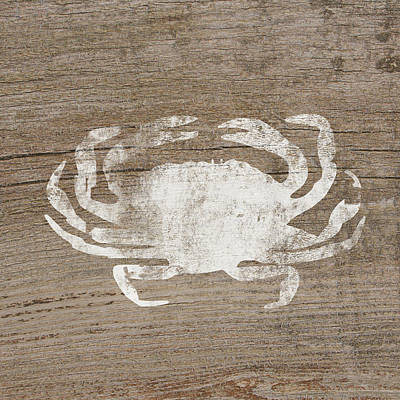 Tote Mixed Media - White Crab On Wood- Art By Linda Woods by Linda Woods