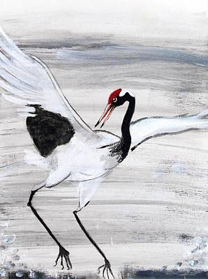 Painting - White Crane by Andrea Realpe