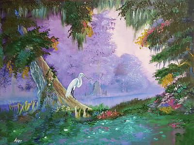 Cypress Swamp Painting - White Crane by Nicolas Avet