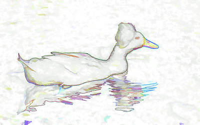 Crested Duck Painting - White Crested Duck by Lanjee Chee