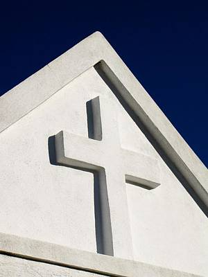 Photograph - White Cross Blue Sky by Tony Grider
