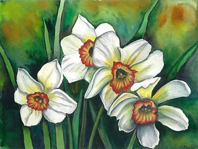 Painting - White Daffodils by Linda Nielsen
