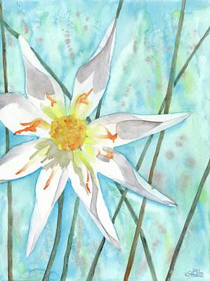 Dahlia Painting - White Dahlia by Ken Powers