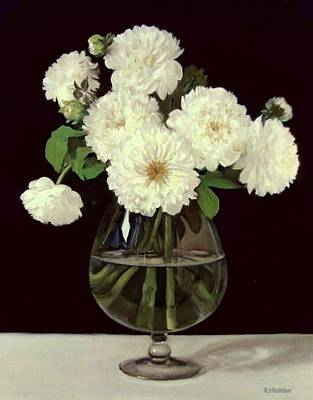 Painting - White Dahlias In Brandy Snifter by Robert Holden
