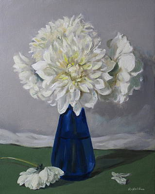Painting - Dinnerplate Dahlias In Depression Glass Vase by Robert Holden