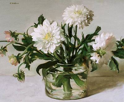 Painting - White Dahlias In Glass Coffeepot by Robert Holden