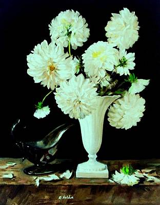 Painting - White Dahlias In White Vase by Robert Holden