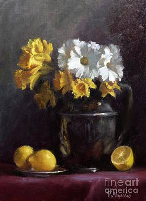White Daisies And Daffodils  Art Print