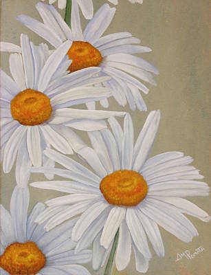 Martinez Painting - White Daisies by Angeles M Pomata