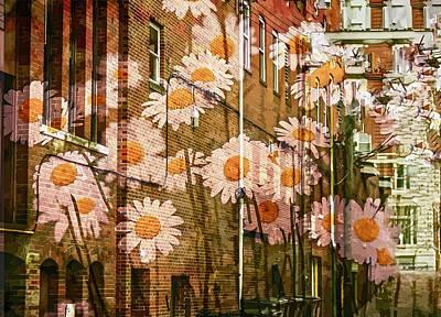 Mixed Media - White Daisy Wall Graffiti by Clive Littin