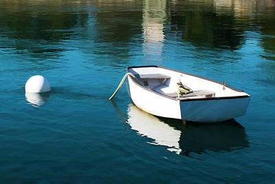 Row Boat Digital Art - White Dinghy by Kemp Howland