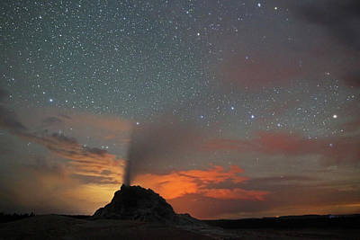 Photograph - White Dome Geyser At Night by Jean Clark