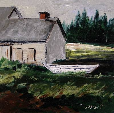 Coastal Maine Drawing - White Dory by John Williams