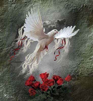 Digital Art - white Dove by Ali Oppy