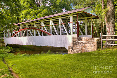 Photograph - White Dr. Kinsely Covered Bridge by Adam Jewell