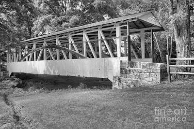 Photograph - White Dr. Kinsely Covered Bridge Black And White by Adam Jewell