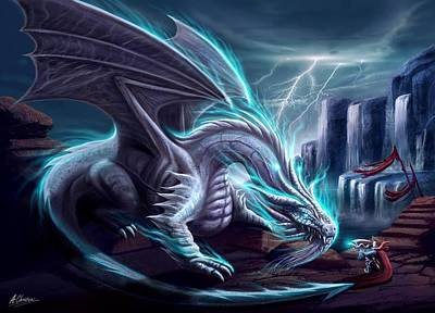Painting - White Dragon by Anthony Christou