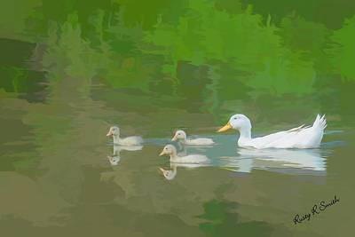 Digital Art - White Duck Three Ducklings. by Rusty R Smith