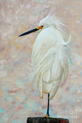 Painting - White Egret Basking In The Sun by Jimmie Bartlett