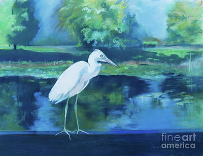 Pastel - White Egret Bird On Blue by Robin Maria Pedrero