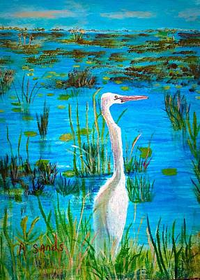 White Egret In Florida Art Print