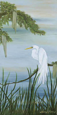 Painting - White Egret by Shirley Lawing
