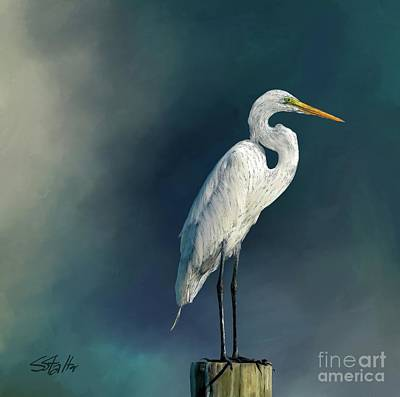 Painting - White Egret by Shirley Stalter