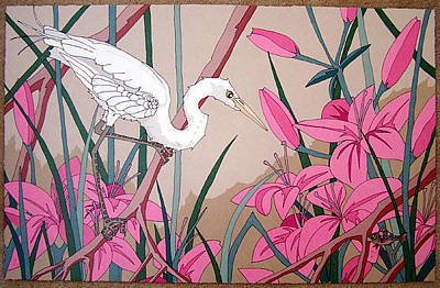 Dan Goad Painting - White Egret With Fish by Dan Goad