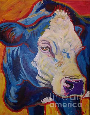 Painting - White Face Cow by Jenn Cunningham