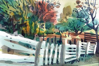 White Fence Art Print by Donald Maier
