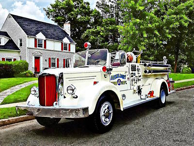 Photograph - White Fire Truck by Susan Savad
