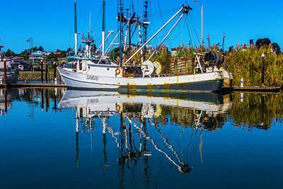 White Fishing Boat Reflection Art Print