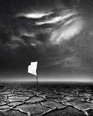 Surrealism Royalty-Free and Rights-Managed Images - White Flag by Jacky Gerritsen