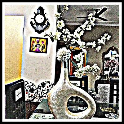 White Floral Ecstasy  Art Print by Jagjeet Kaur