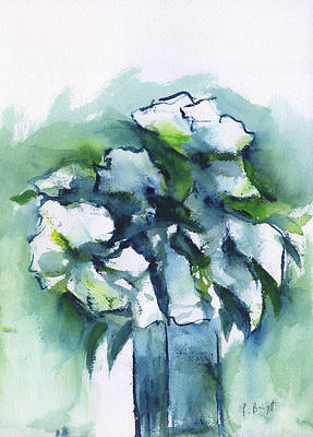 Painting - White Flowers Abstract by Frank Bright