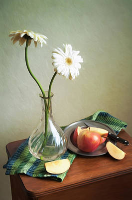 Photograph - White Flowers And Red Apples by Colleen Farrell