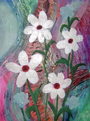 Creative Passages Painting - White Flowers by Cassandra Donnelly