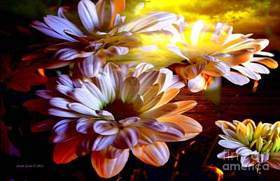 Photograph - White Flowers In A Sunset by Annie Zeno