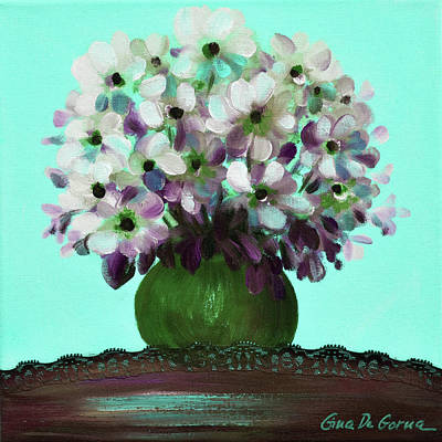 Painting - White Flowers In A Vase by Gina De Gorna