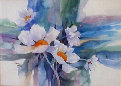 Painting - White Flowers by Jerry Kelley