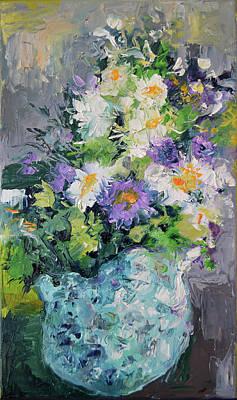 White Flowers, Modern Relief Painting Art Print by Soos Roxana Gabriela