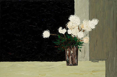 White Flowers On Black And Neutral Art Print by Timothy Clayton