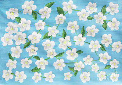 Painting - White Flowers On Blue, Painting by Irina Afonskaya