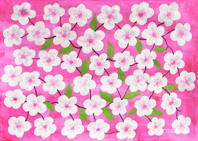 Painting - White Flowers On Pink by Irina Afonskaya