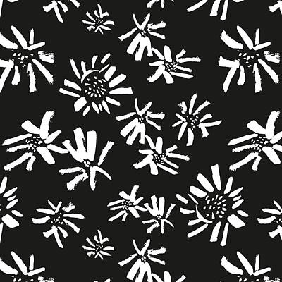 Digital Sunflower Mixed Media - White Flowers On The Black by Gala Sofie Kuhn