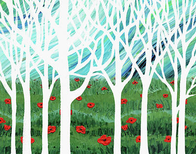 Painting - White Forest Poppy Field Blue Sky by Irina Sztukowski