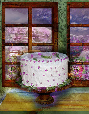 Interior Still Life Digital Art - White Frosted Cake by Mary Ogle and Miki Klocke