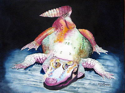 White Gator Art Print by Maria Barry
