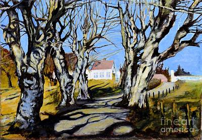 Countryside Painting - White Grove by Suzann's Art