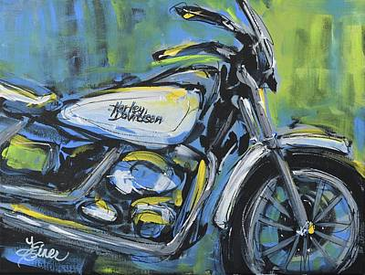 Painting - White Harley by Terri Einer